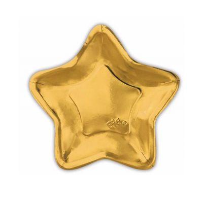 Тарелки бумажные одноразовые золотые в форме звезды