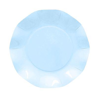 Тарелки бумажные одноразовые перламутровые голубые однотонные 21 см волны