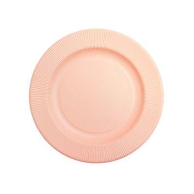 Тарелки бумажные одноразовые персиковые однотонные 25 см плиссе