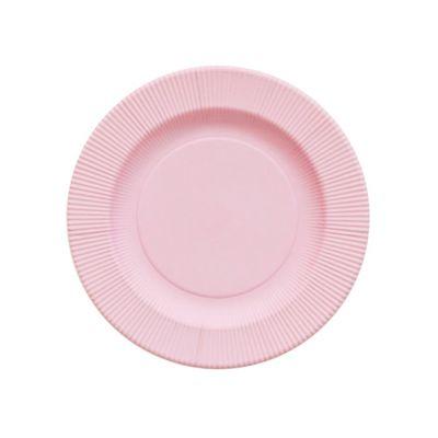 Тарелки розовые плиссе матовые