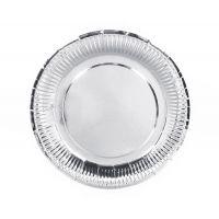 Тарелки бумажные одноразовые серебряные