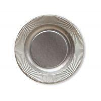 Тарелки бумажные одноразовые серебряные 25 см плиссе