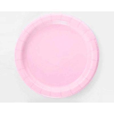 Тарелки бумажные одноразовые розовые однотонные 21 см