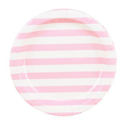 Тарелки бумажные одноразовые. Розовая полоска