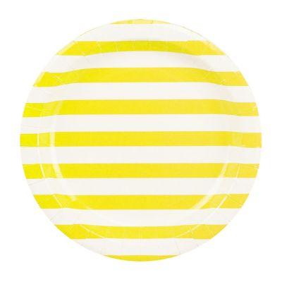Тарелки бумажные одноразовые. Желтая полоска