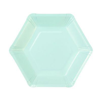 Тарелки бумажные одноразовые однотонные пастельного мятного цвета