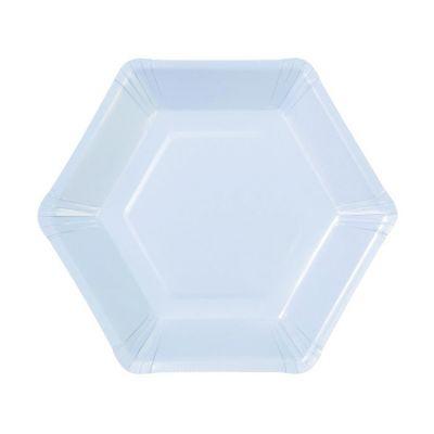 Тарелки бумажные одноразовые однотонные пастельного нежно-голубого цвета