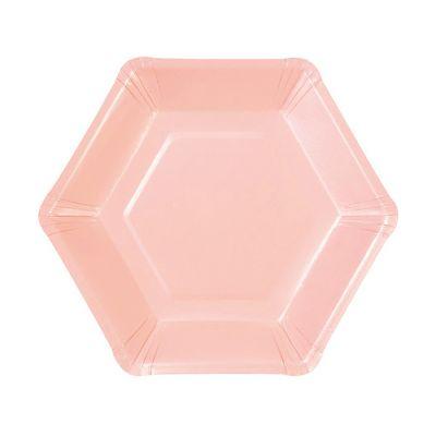 Тарелки бумажные одноразовые однотонные пастельного нежно-розового цвета