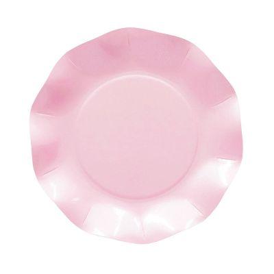 Тарелки бумажные одноразовые перламутровые нежно-розовые однотонные 21 см волны