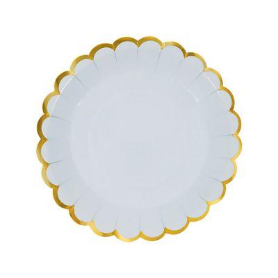 Тарелки бумажные одноразовые однотонные голубого цвета с золотой каймой 23 см