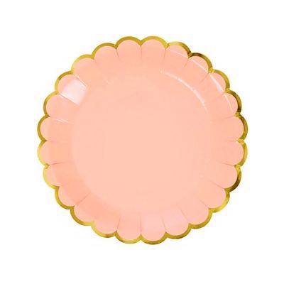 Тарелки бумажные одноразовые однотонные персикового цвета с золотой каймой 23 см