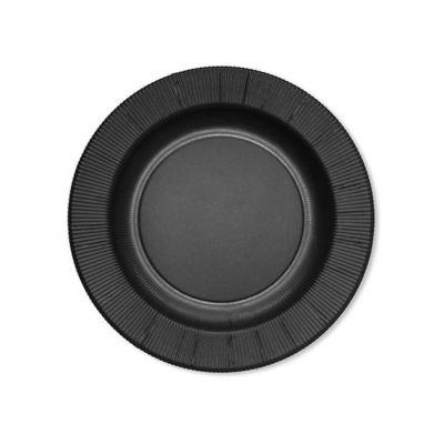 Тарелки бумажные одноразовые черные однотонные 25 см плиссе
