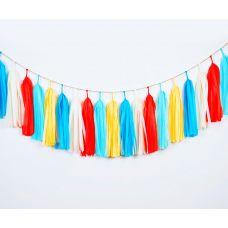 Тассел гирлянда из кисточек. Красный, белый, желтый, голубые цвета