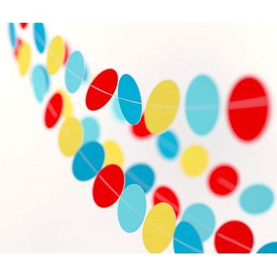 Гирлянда-круги красный, желтый, синий, голубой