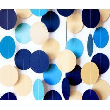 Гирлянда-круги. Темно-синий. Голубой. Белый. Бежевый