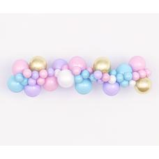 Гирлянда из воздушных шаров. Розовые, сиреневые, голубые, белые, золотистые