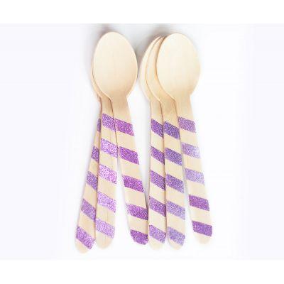 Деревянные ложечки, фиолетовая полоска с блестками
