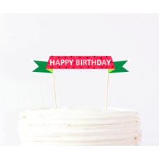 "Топпер на торт ""Арбузная вечеринка"" Happy birthday, лента"
