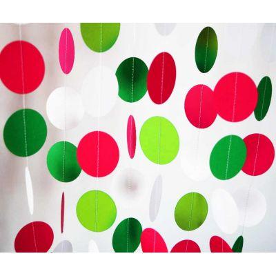 Гирлянда-круги. Красный. Зеленый. Белый