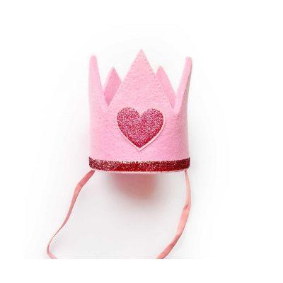 Корона из фетра. Розовая с красными блестками