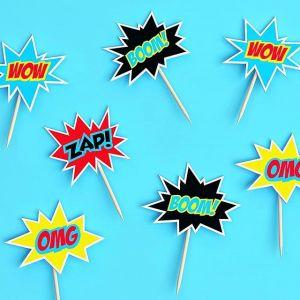 ⚡ WOW⚡ BOOM⚡ POW⚡ Как вам такие топперы для супергеройской вечеринки?  То, что нужно для оформления веселого и креативного праздника!  Ищите на сайте в разделе СУПЕРГЕРОИ